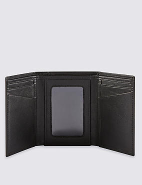 Leather Tri Fold Id Wallet, BLACK, catlanding
