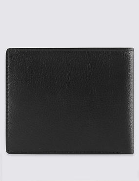 Smooth Leather Bi Fold Wallet, BLACK, catlanding