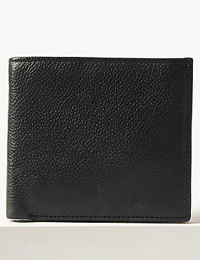 Leather Slim Popper Bi Fold Wallet with Cardsafe™, BLACK, catlanding