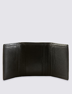 Genuine Leather Slim Trifold Wallet with Cardsafe™, BLACK, catlanding