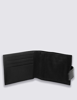 Leather Coin ID Tab Wallet with Cardsafe™, BLACK, catlanding