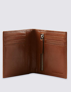 Leather Tall Bifold Wallet with Cardsafe™, TAN, catlanding