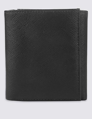 Leather Saffiano Trifold Wallet with Cardsafe™, BLACK, catlanding