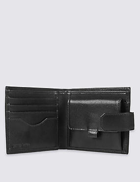 Leather Saffiano Bi Fold Coin Wallet with Cardsafe™, BLACK, catlanding