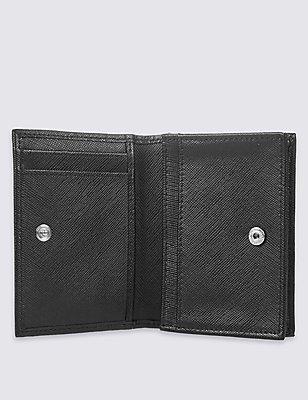 Leather Saffiano Card Case Wallet, BLACK, catlanding