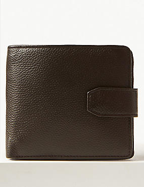 Leather Bi Fold Coin Wallet with Cardsafe™, BROWN, catlanding