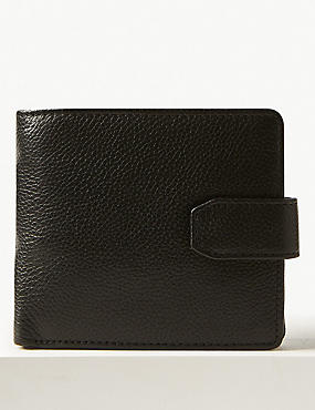 Leather Bi Fold Coin Wallet with Cardsafe™, BLACK, catlanding
