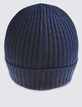Pure Cashmere Knitted Hat, NAVY, catlanding