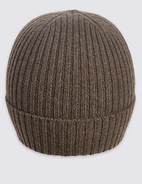 Pure Cashmere Knitted Hat, TAUPE, catlanding