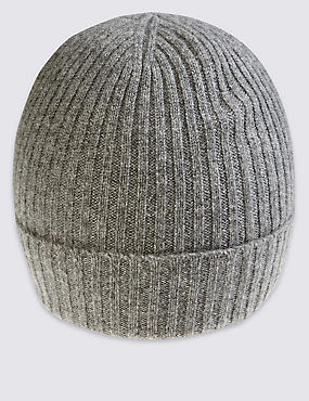Pure Cashmere Knitted Hat, GREY MIX, catlanding