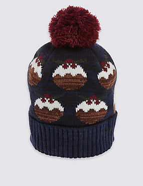 Christmas Pudding Beanie Hat, NAVY MIX, catlanding