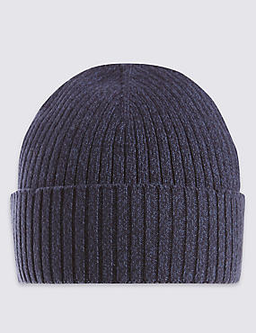 Pure Cotton Knitted Beanie Hat with StayNEW™, NAVY, catlanding