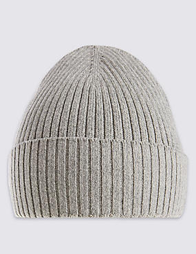Pure Cotton Knitted Beanie Hat with StayNEW™, GREY, catlanding