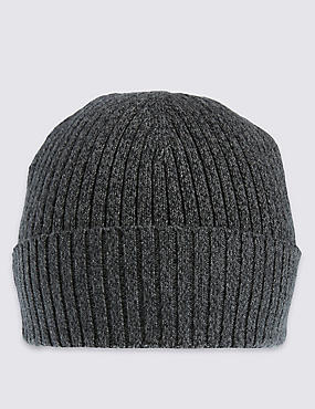 Pure Cotton Knitted Beanie Hat with StayNEW™, CHARCOAL, catlanding