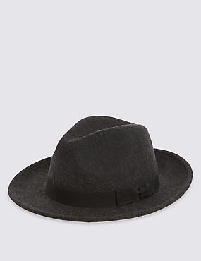 Pure Wool Fedora with Stormwear™, CHARCOAL, catlanding