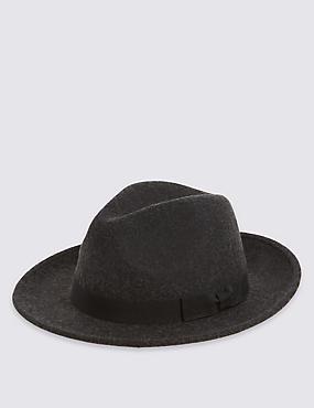 Chapeau fedora 100% laine doté de la technologie Stormwear™, CHARBON, catlanding