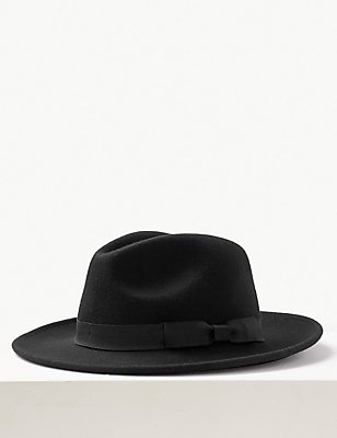 Pure Wool Fedora with Stormwear™, BLACK, catlanding