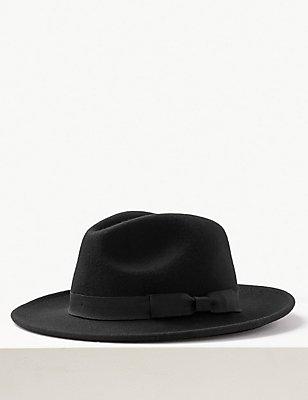 Chapeau fedora 100% laine doté de la technologie Stormwear™, NOIR, catlanding