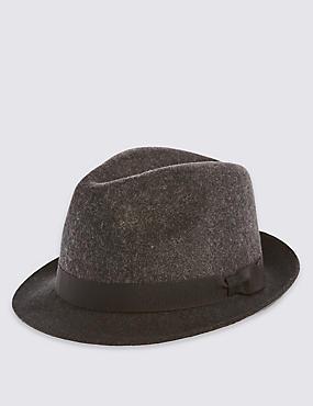 Pure Wool Felt Trilby Hat with Stormwear technology, GREY MIX, catlanding