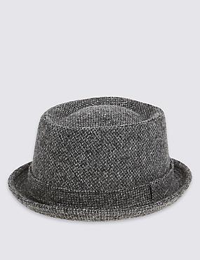 Pure Wool Pork Pie Hat with Stormwear™, CHARCOAL, catlanding