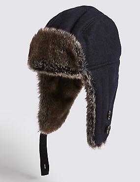Melton Trapper Hat, NAVY, catlanding