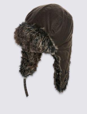 Шапка-ушанка из хлопка с технологиями Thinsulate™ и Stormwear™ M&S Collection T097178M