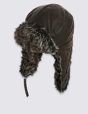 Pure Cotton Thinsulate™ Trapper Hat with Stormwear™, OLIVE, catlanding