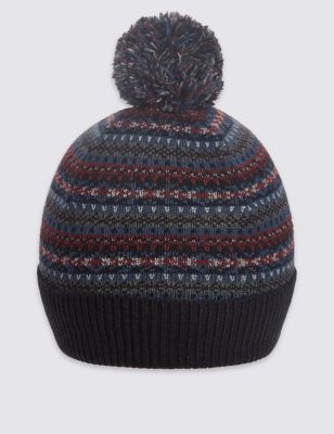 Вязаная шапка с шотландским рисунком и помпоном M&S Collection T097188M
