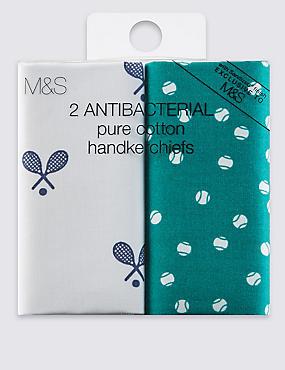 2 Pack Pure Cotton Tennis Print Handkerchiefs, GREEN MIX, catlanding