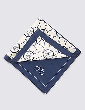 2 Pack Pure Cotton Anti-Bacterial Cycling Print Handkerchiefs, NAVY MIX, catlanding