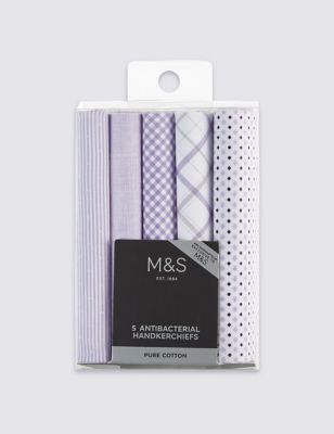 Набор носовых платков из хлопка в ассортименте (5 шт.) от Marks & Spencer