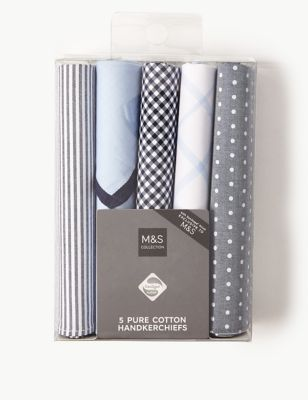 Носовые платки из чистого хлопка с антибактериальной пропиткой и принтами в ассортименте (5 шт) от Marks & Spencer