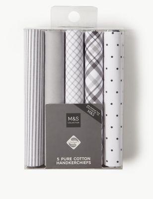 Набор носовых платков с классическим дизайном в единой гамме (5 шт) от Marks & Spencer