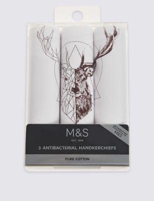 """Носовой платок Anti-Bacterial из чистого  хлопка """"Олень в графике"""" (3 шт) от Marks & Spencer"""