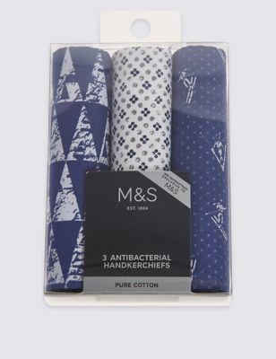 """Носовой платок Anti-Bacterial из чистого  хлопка """"Лыжник"""" (3 шт) от Marks & Spencer"""