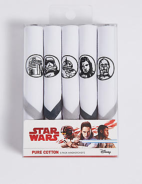 5 Pack Star Wars™ Handkerchiefs with Sanitized Finish®, , catlanding