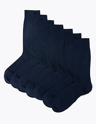 7 Pairs of Cotton Rich Socks, NAVY, catlanding