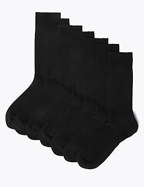 7 Pairs of Cool & Freshfeet™ Cotton Rich Socks, BLACK, catlanding