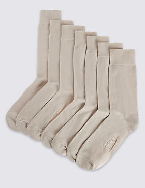 7 Pair Pack of Freshfeet™ Cotton Rich Socks, BEIGE, catlanding