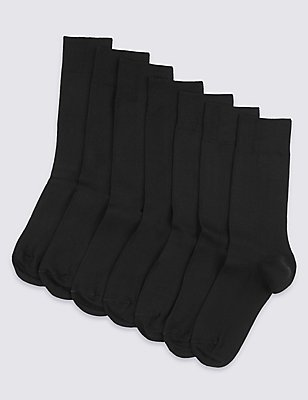 7 Pair Pack of Freshfeet™ Cotton Rich Socks, BLACK, catlanding