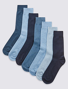 7 Pairs of Cool & Freshfeet™ Cotton Rich Socks , BLUE MIX, catlanding