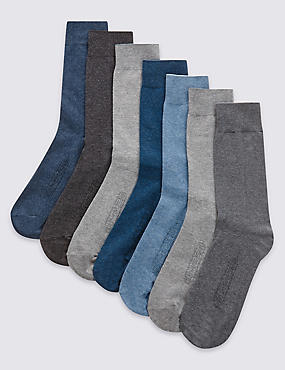 7 Pairs of Cool & Freshfeet™ Cotton Rich Socks , GREY MIX, catlanding