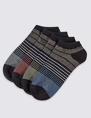 4 Pairs of Freshfeet™ Cotton Rich Striped Socks with Silver Technology, BLACK, catlanding