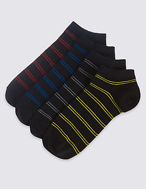 4 Pairs of Cool & Freshfeet™ Trainer Liner Socks, BLACK MIX, catlanding