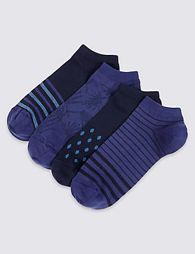 4 Pairs of Cool & Freshfeet™ Cotton Rich Socks, NAVY MIX, catlanding