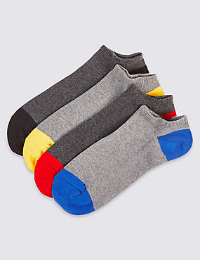 4 Pairs of Cool & Freshfeet™ Trainer Liner Socks, GREY MIX, catlanding