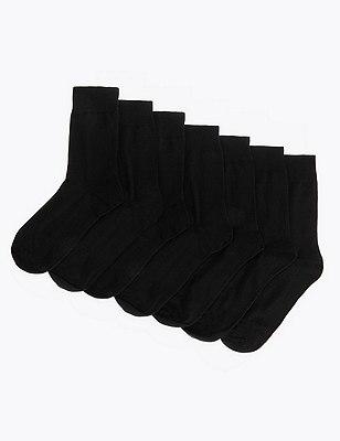 7 Pairs of Socks, BLACK, catlanding