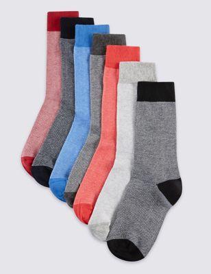 Мягкие хлопковые носки пике (7 пар)