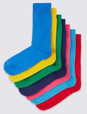 Мягкие хлопковые носки Freshfeet™ разных цветов в однотонном исполнении (7 пар)