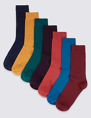 7 Pairs of Freshfeet™ Cotton Rich Socks, MULTI, catlanding